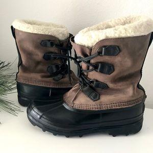 SOREL Bighorn Brown Nubuck Suede Rubber Snow Boots